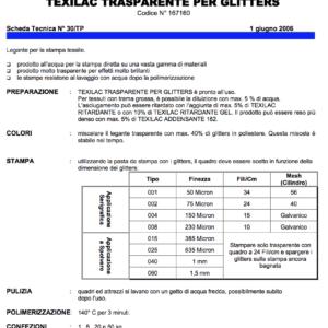 Texilac trasparente per glitters - Seritalia live - Roma